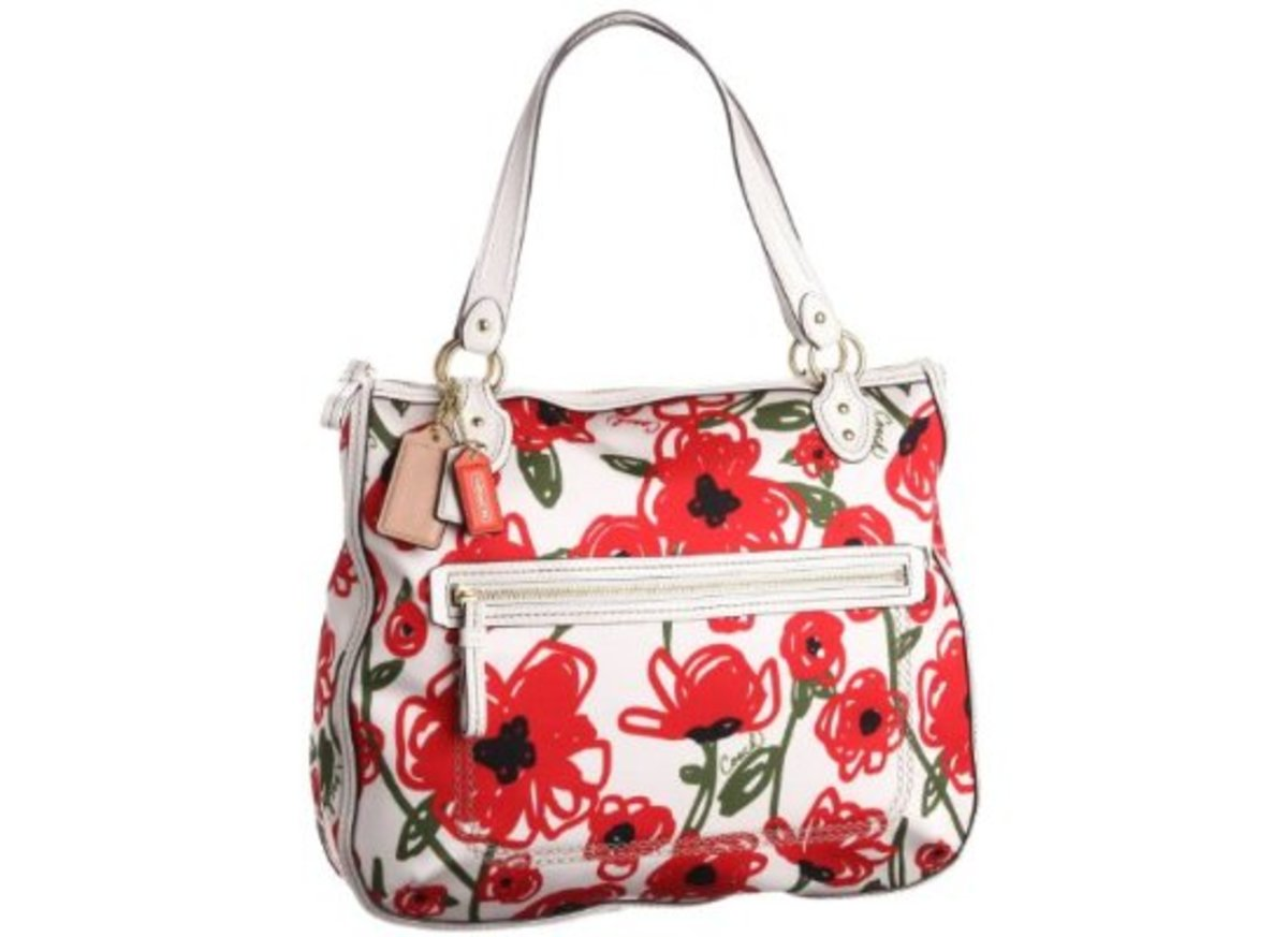 New Authentic Coach Poppy Floral Print Hallie Tote Handbag (White/red)