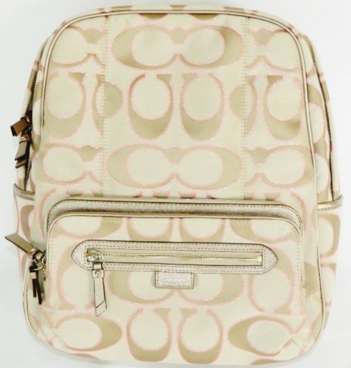 Coach Signature Daisy Metallic Backpack 24365 Khaki Gold