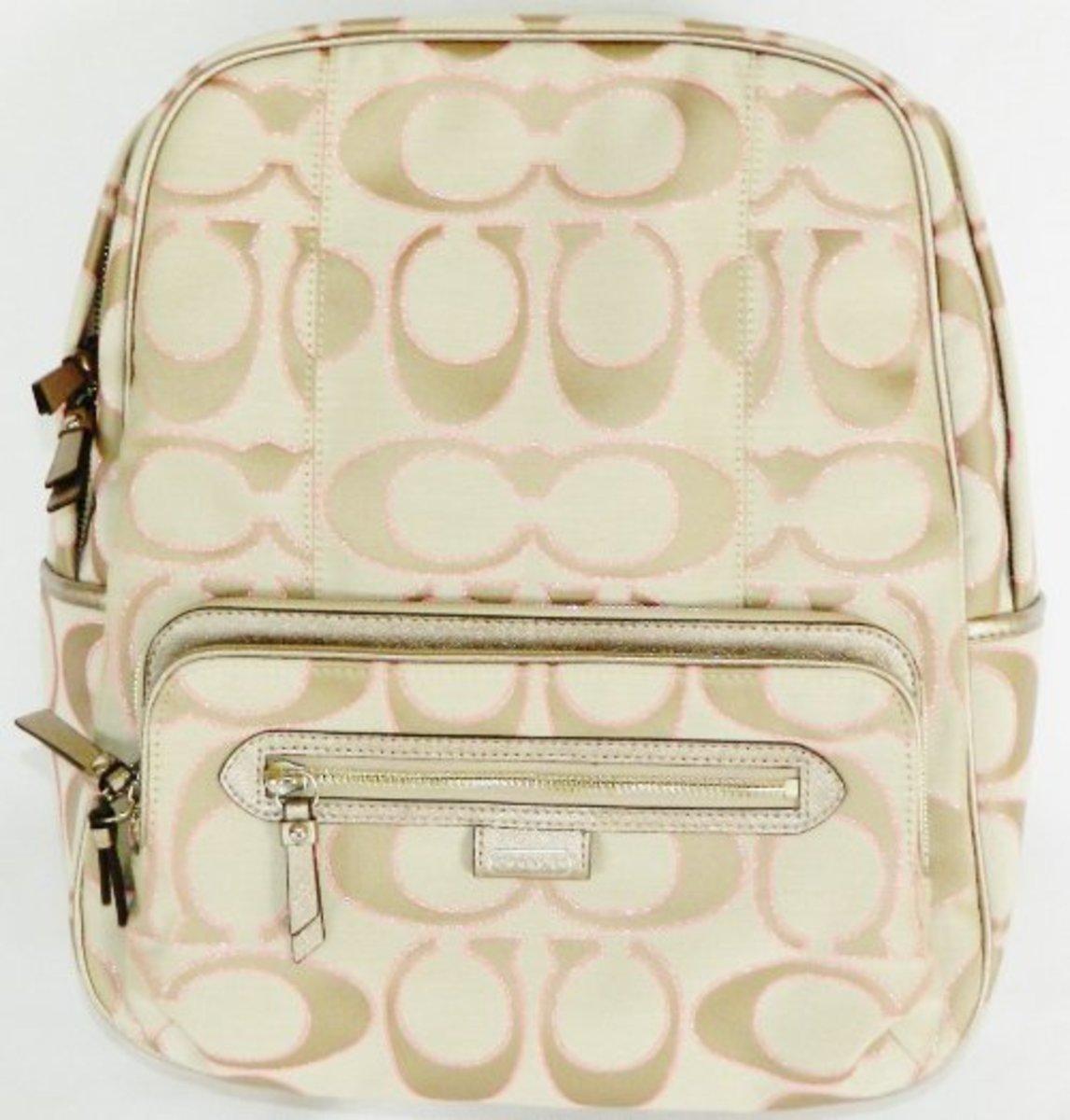 Coach Signature Daisy Metallic Backpack 24365 Khaki Gold