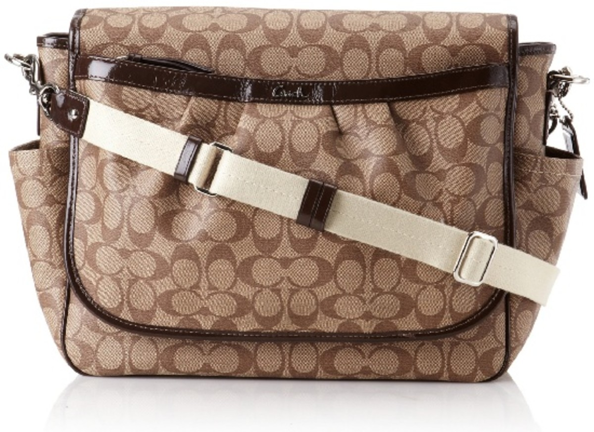 Coach Signature PVC Coated Canvas Baby Messenger Bag 18373 Khaki Mahogany