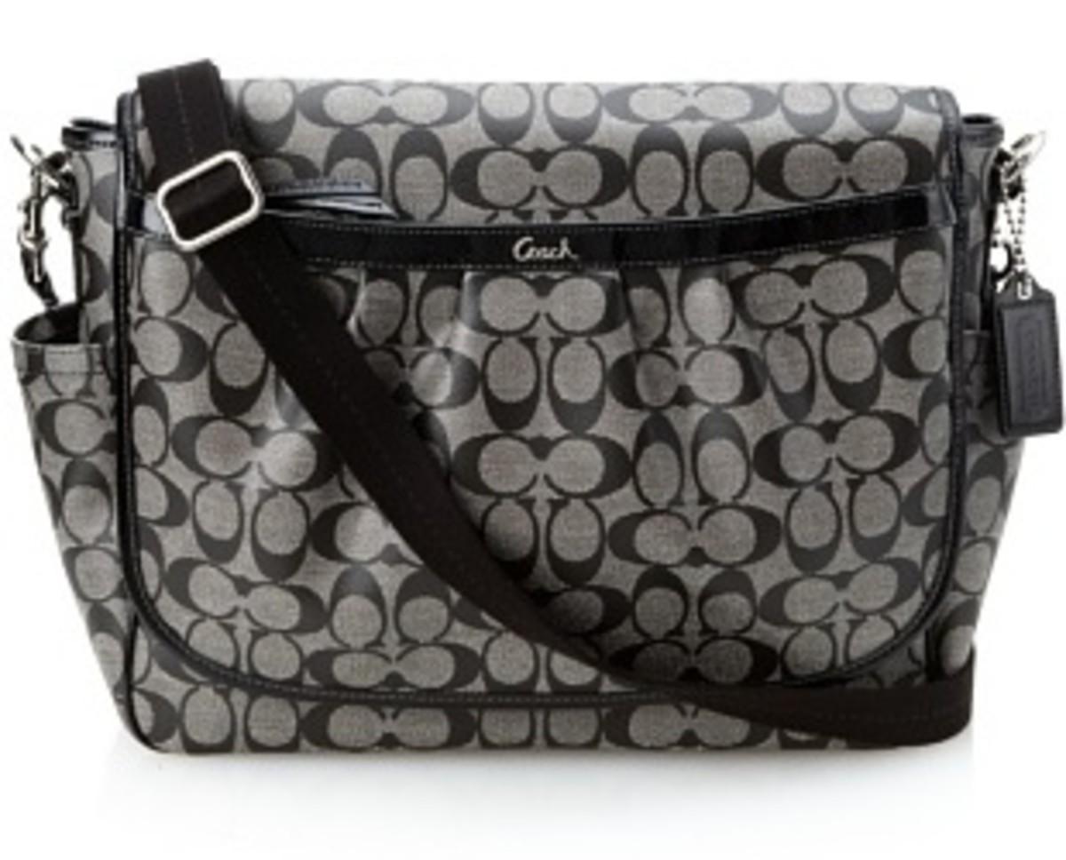 Authentic Coach Signature PVC Coated Canvas Baby Messenger Bag 18373 Black White