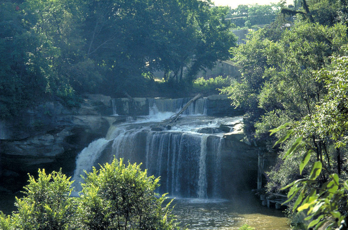 The Black River, east falls in Elyria OH.