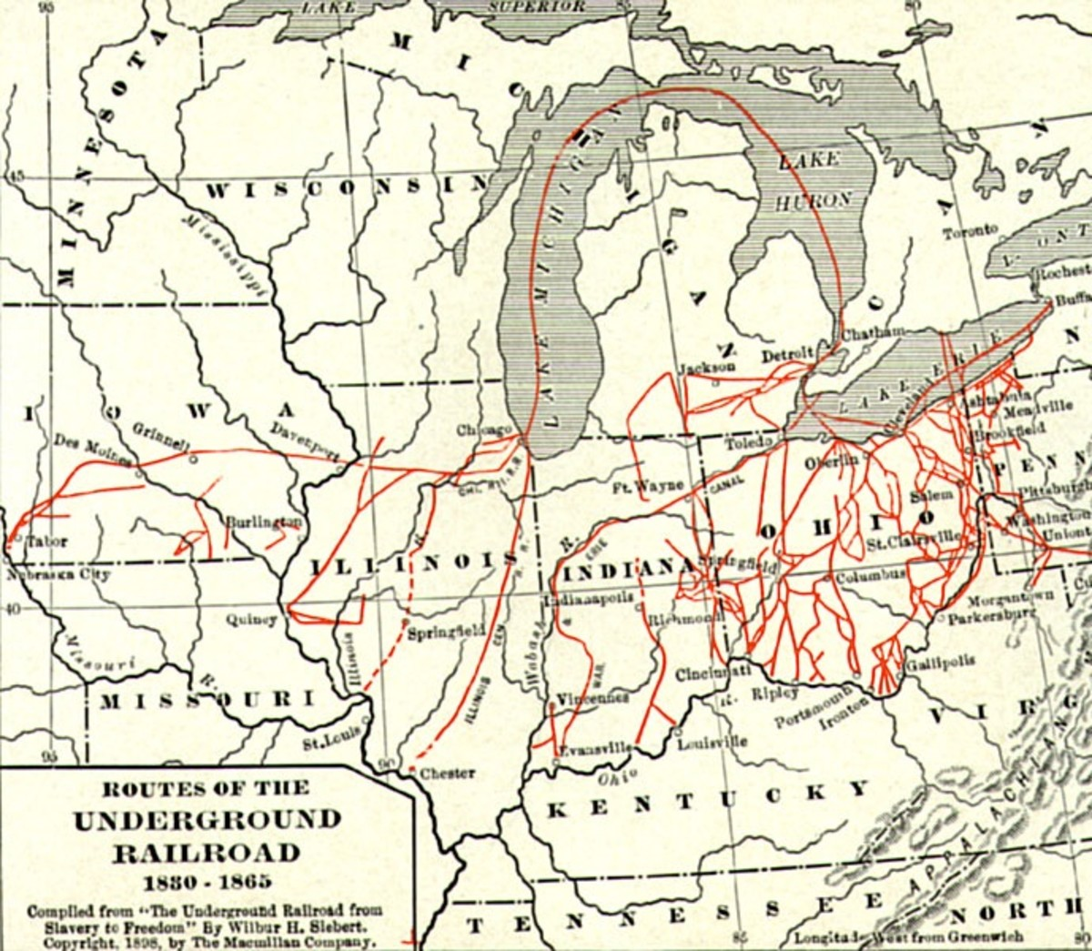 Routes of the Underground Railroad in and out of Ohio. Notice Oberlin on Lake Erie.