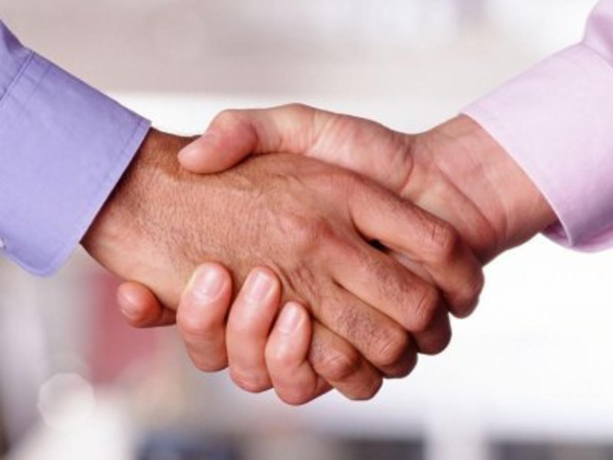 Closeup of handshake.