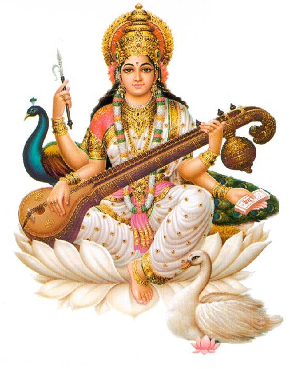 The 'lotus' seat was missing but so was the Goddess Saraswati!