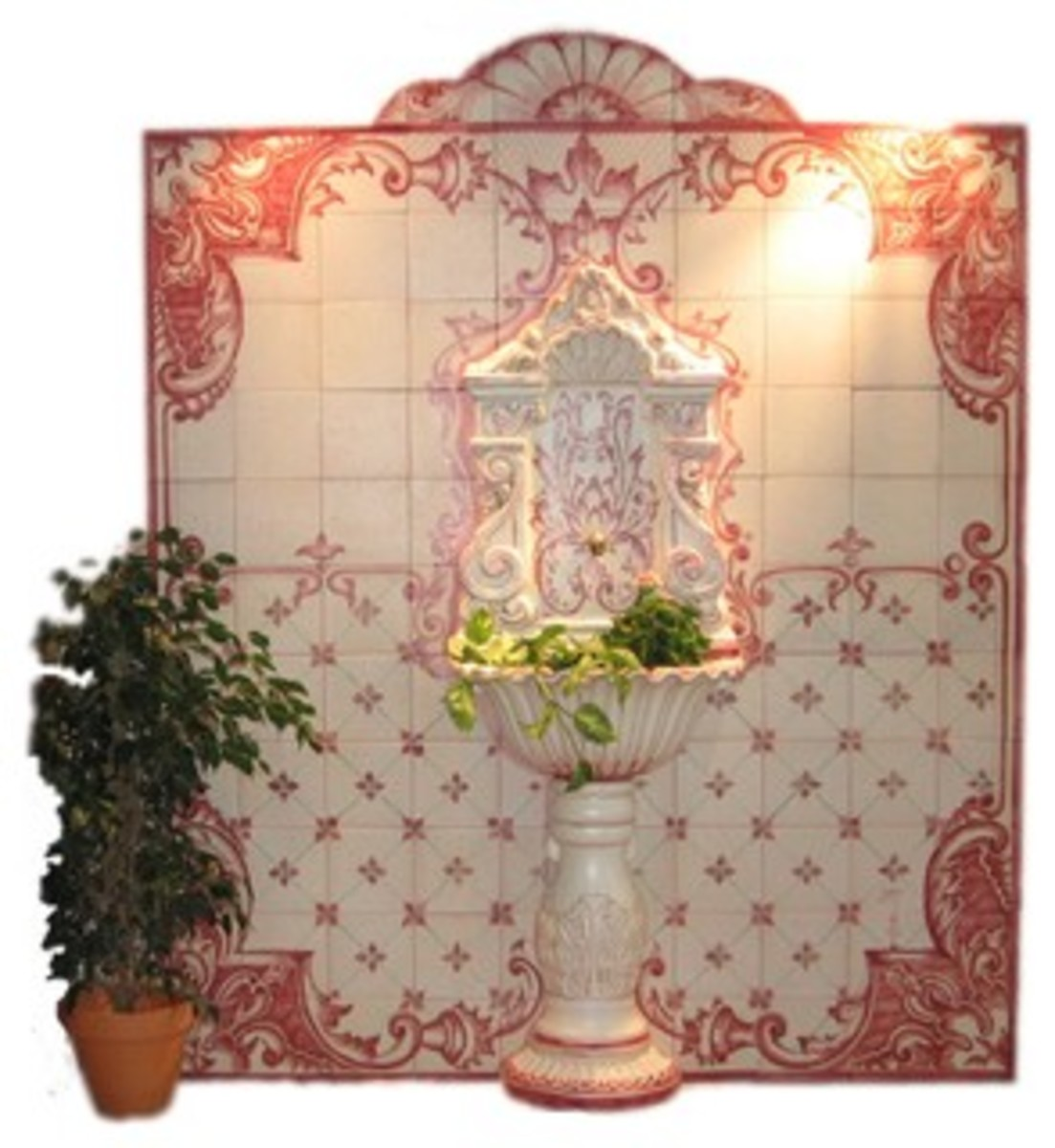 pink and water tile are the backdrop for this Mediterranean style water fountain