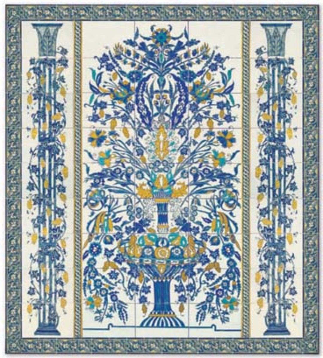 beautiful blue tile intricate floral design in a Mediterranean style