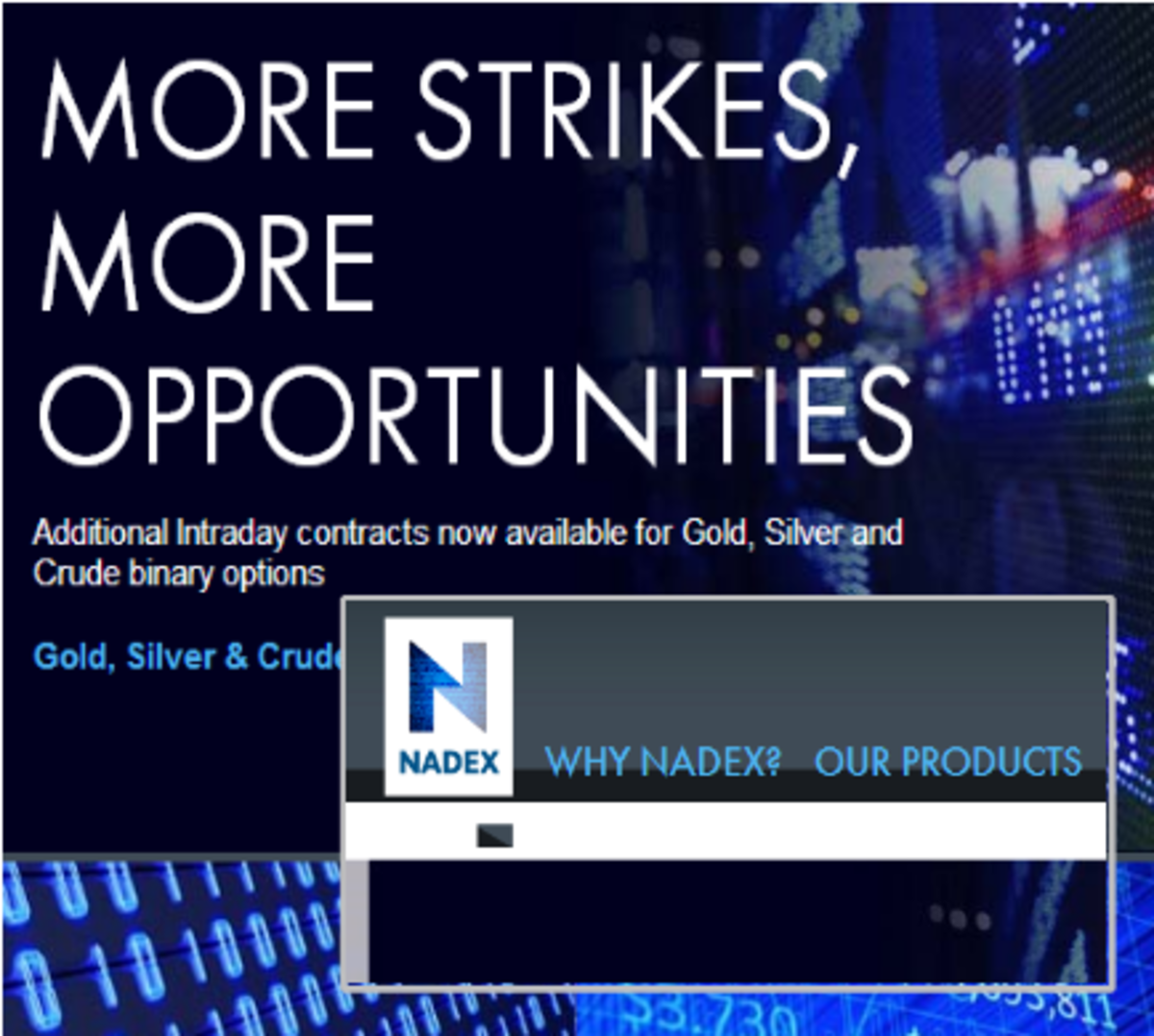 NADEX binary options are CFTC regulated. They are a fixed return all-or-nothing trading vehicle with a value of $0 or $100.