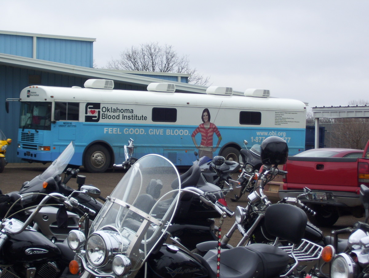 Bikers lined up to donate blood to the Oklahoma Blood Institute.