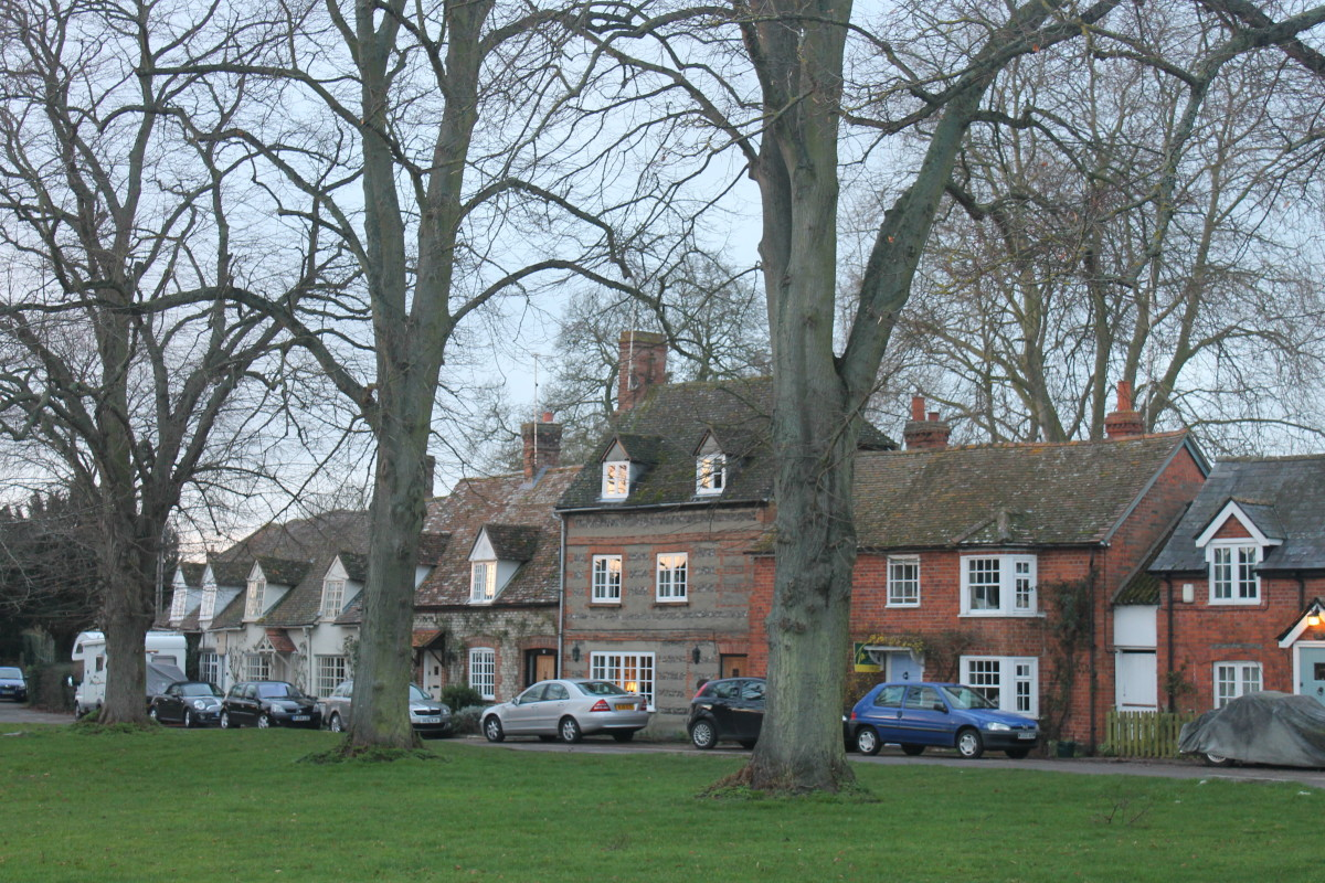 Houses by the village common, Warborough, England. The village common has been used in many episodes as various village locations.