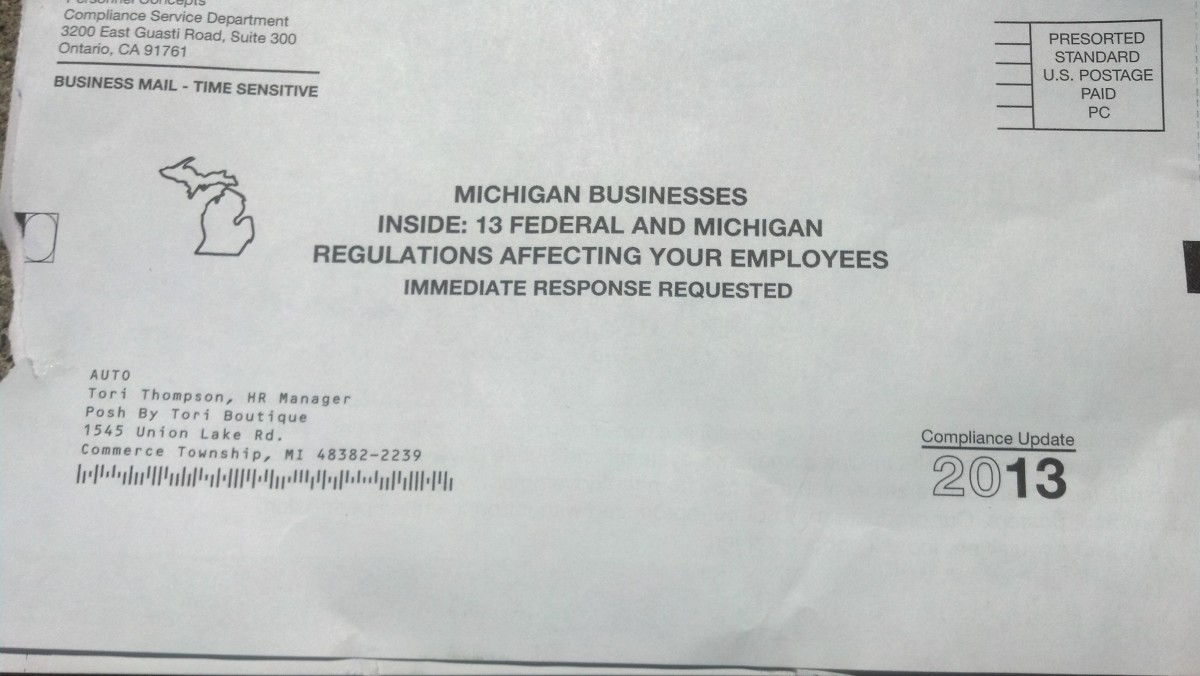 Envelope From Personnel Concepts Labor Laws (Scam)