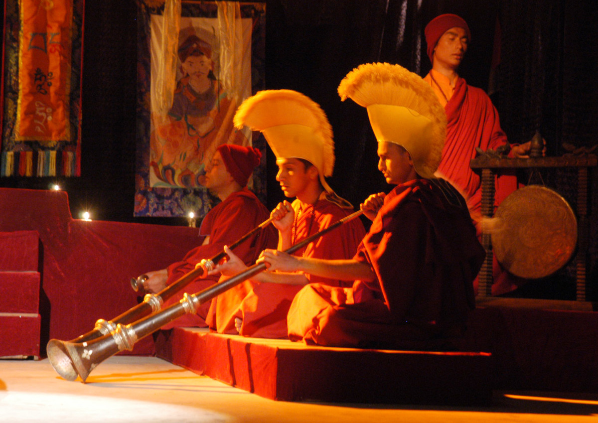 Tibetan Buddhist Rituals: Lama performing the rituals