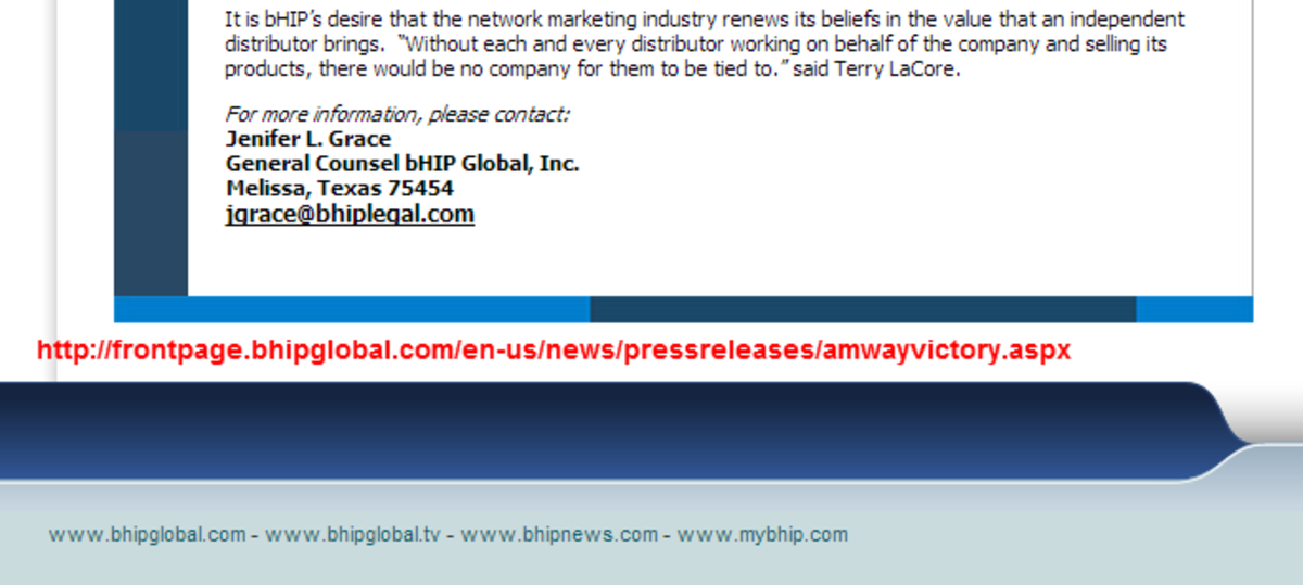Screenshot of bHIPGlobal news release page announcing their victory against Amway regarding distributor rights. Their counsel is Jenifer Grace.
