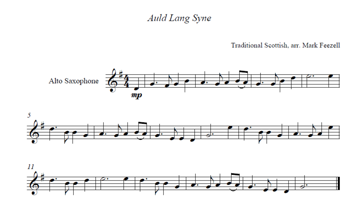 An example of sheet music we will learn to read during this hub.