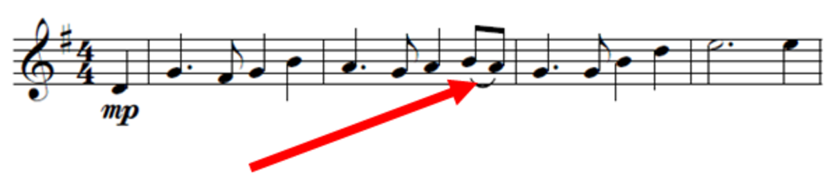 Example of a slur in a piece of music.