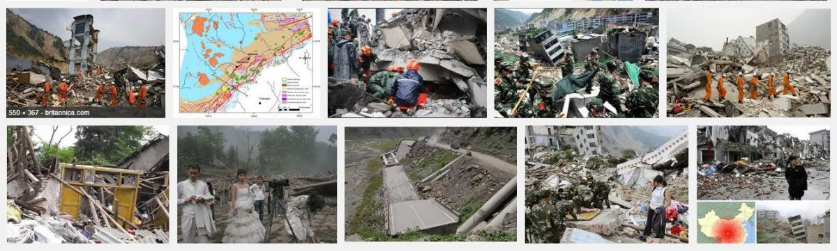 A screenshot of images for the 2008 Sichuan Earthquake