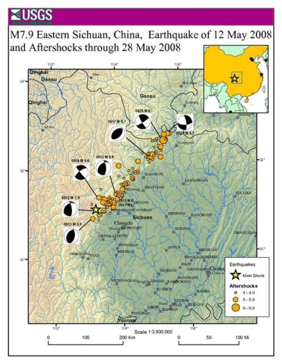 Location and magnitude of aftershocks of the 2008 Sichuan earthquake, through to May 28th 2008
