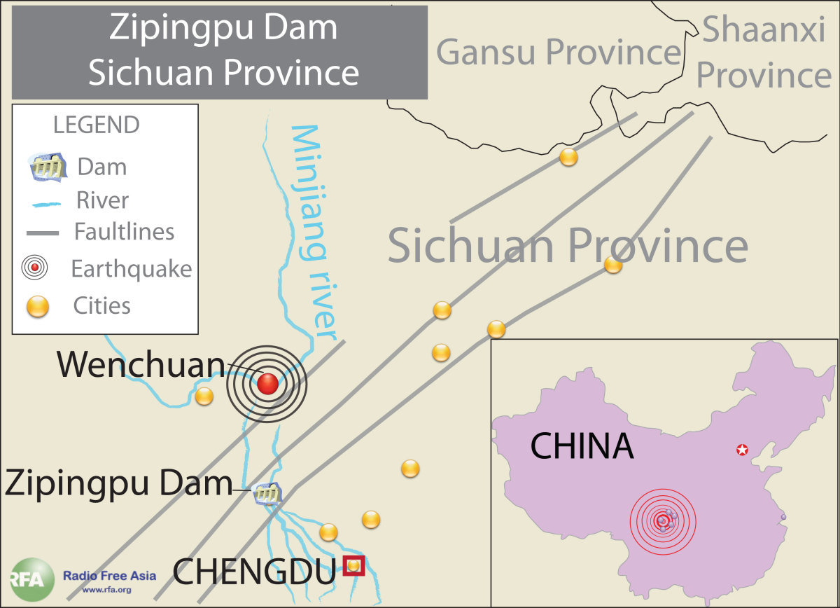 Location of The Zipingpu Dam