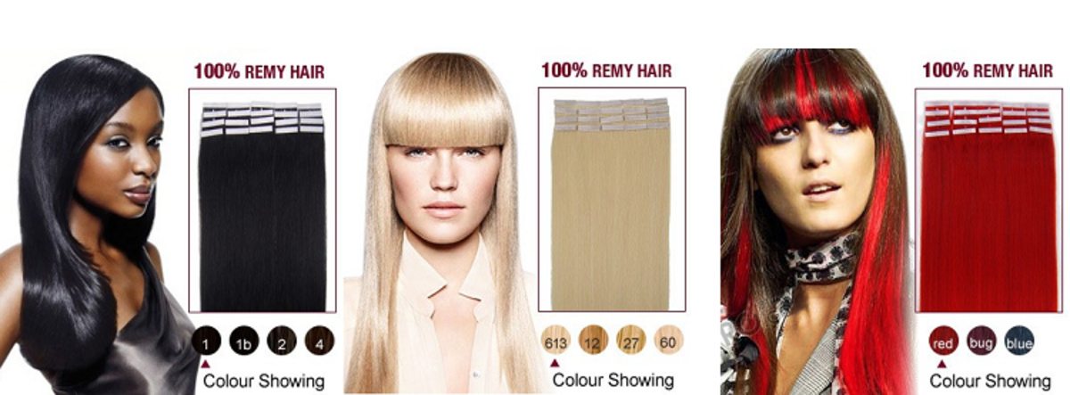 3 different hairstyles using pre-taped  hair extensions.