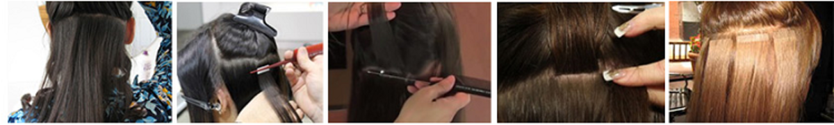 Pictures showing step-by-step process on how to apply tape-in hair extensions.