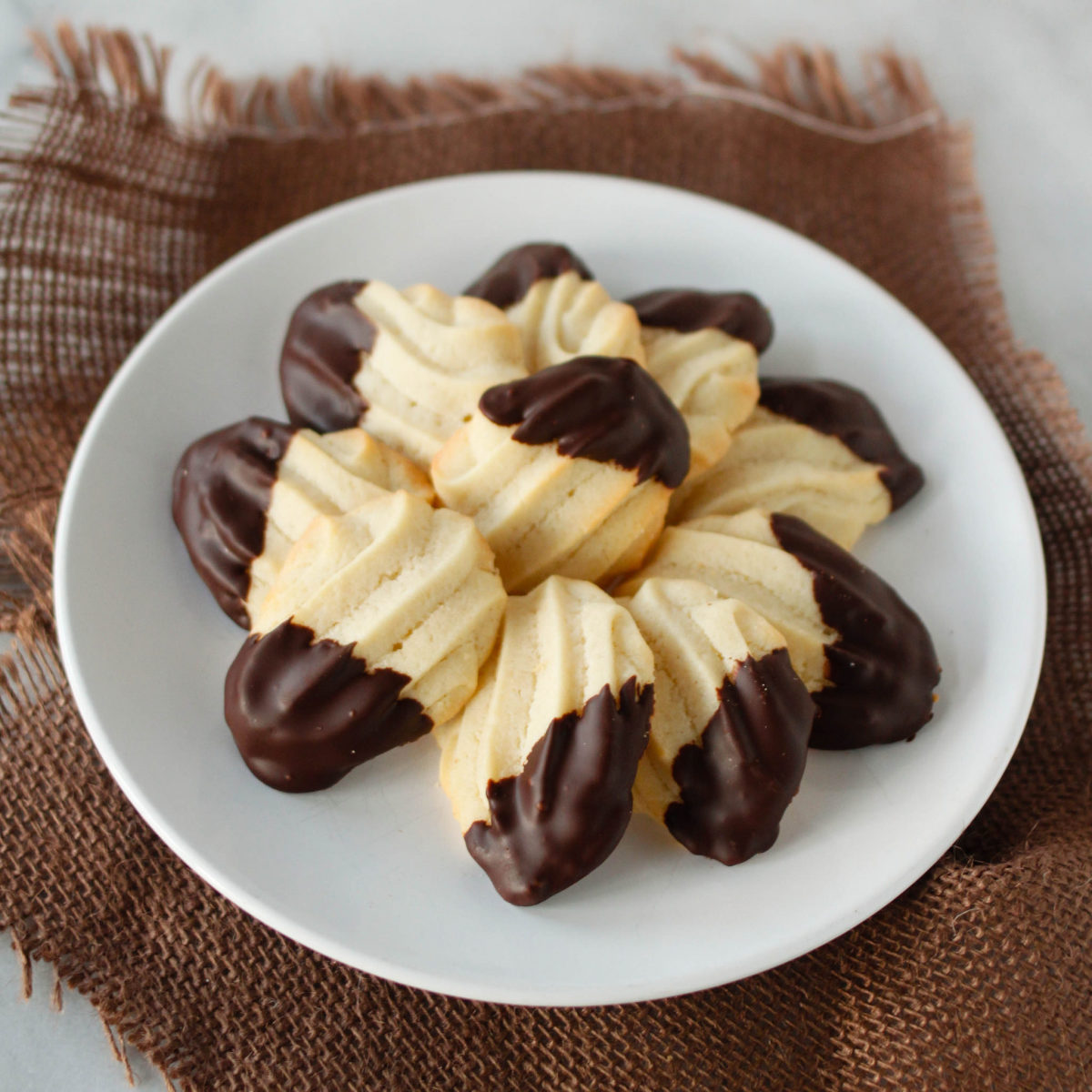 Butter Cookies Dipped in Dark Chocolate