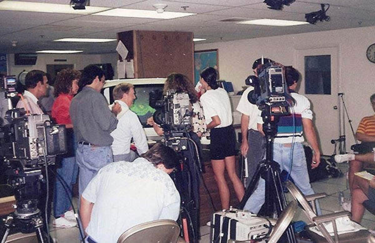 Bob Sheets talking to the media about Hurricane Andrew