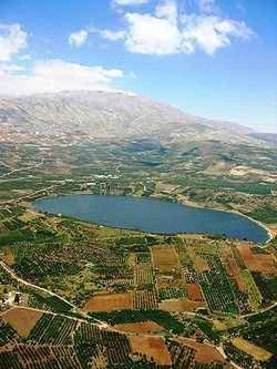 Ariel View of Brechat Ram, Golan Heights, Israel, by Pavel Bernshtam