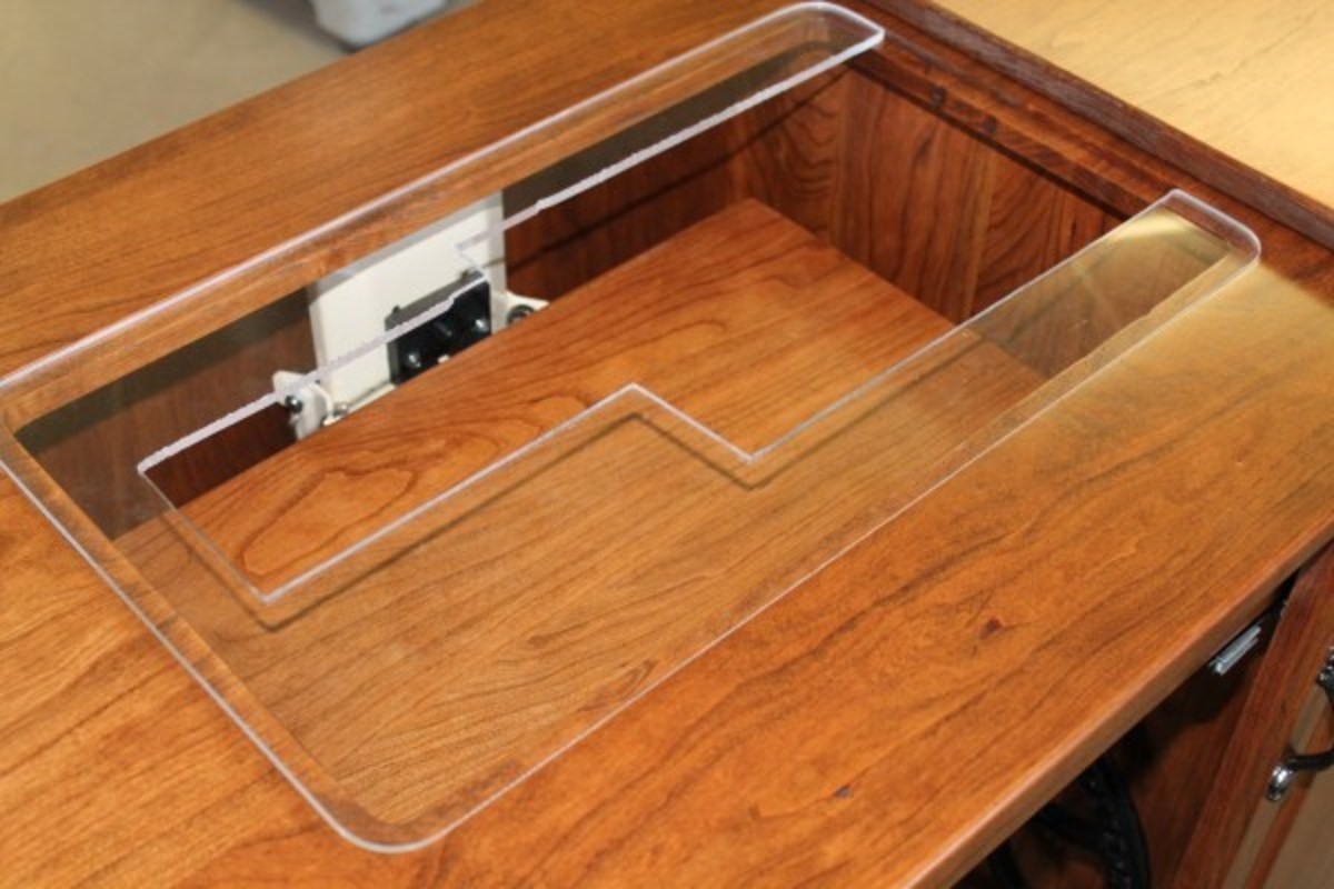 Plexiglas inserts are custom made to fit sewing machines.  Sewing machines can be upgraded and used in the same cabinet.