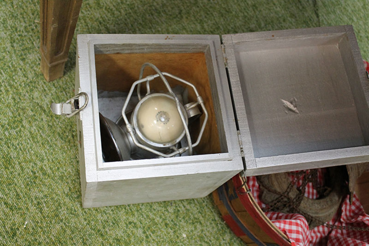 Wooden box made to hold an battery lantern