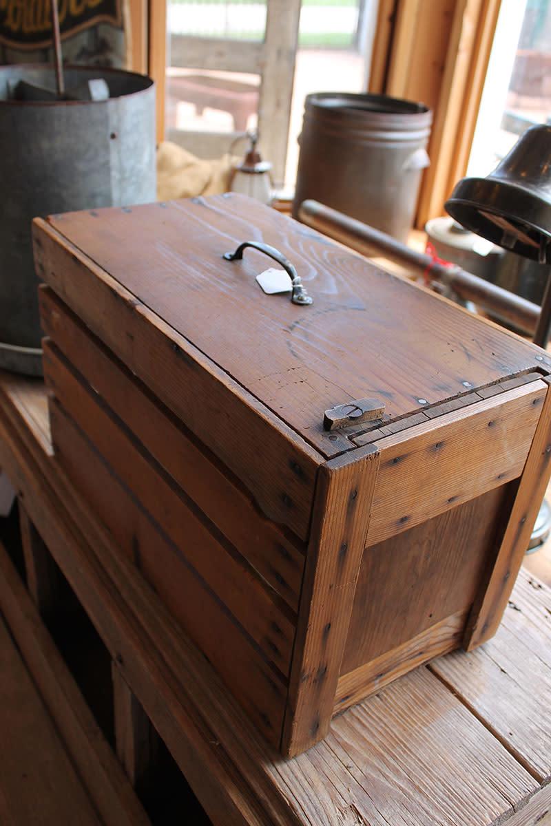An early wooden box pet carrier