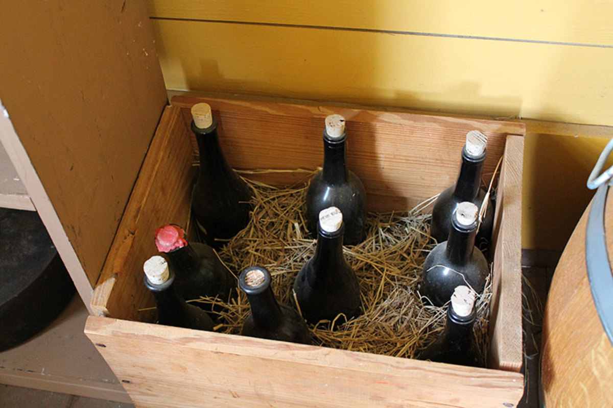 Wine and other fragile glass items were shipped in wooden crates filled with straw.