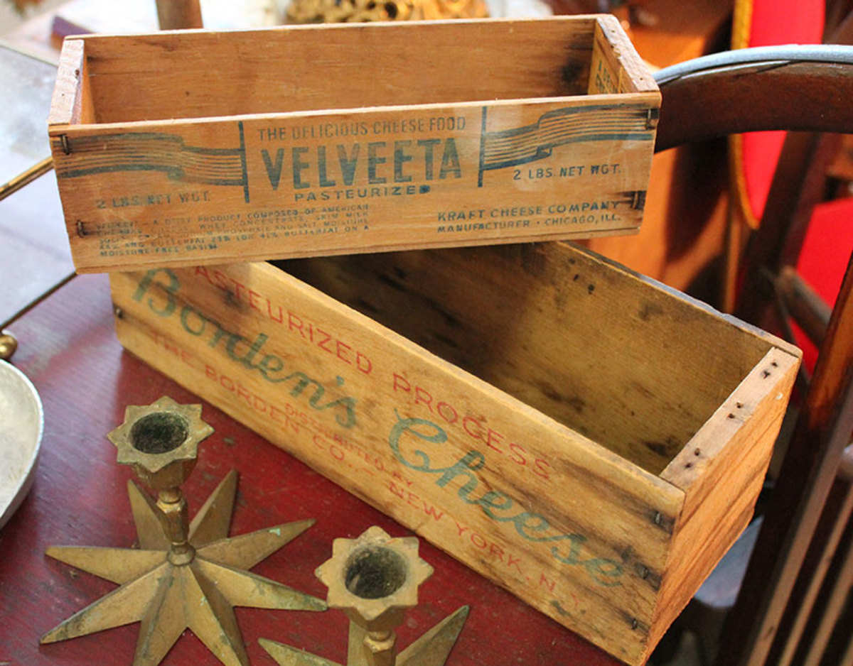 Food items were often sold in wooden boxes