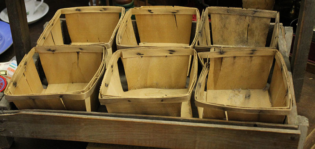 Wood crates held wood berry boxes for picking and shipping