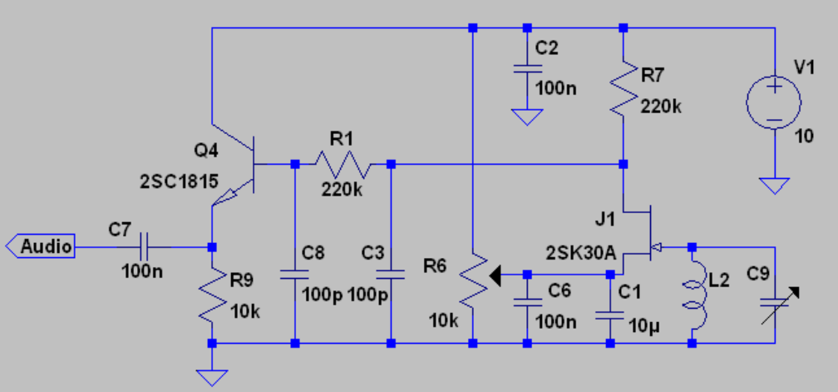 Drain bend FET AM detector.  This circuit has better sensitivity than the pinched off circuit. However is also has a higher dynamic damping effect on the LC resonator that reduces selectivity somewhat.
