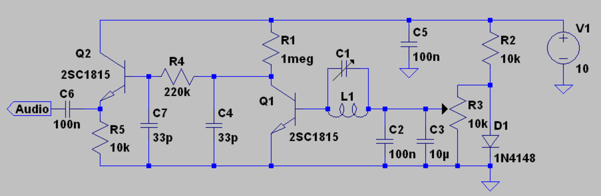 A BJT square law AM detector that give strongly increasing damping of the LC circuit with signal strength.  Using a high Ft transistor for Q1 will give less damping and greater frequency stability.  Even a 2SC3356 (Ft=7Ghz) is Ok in this role.