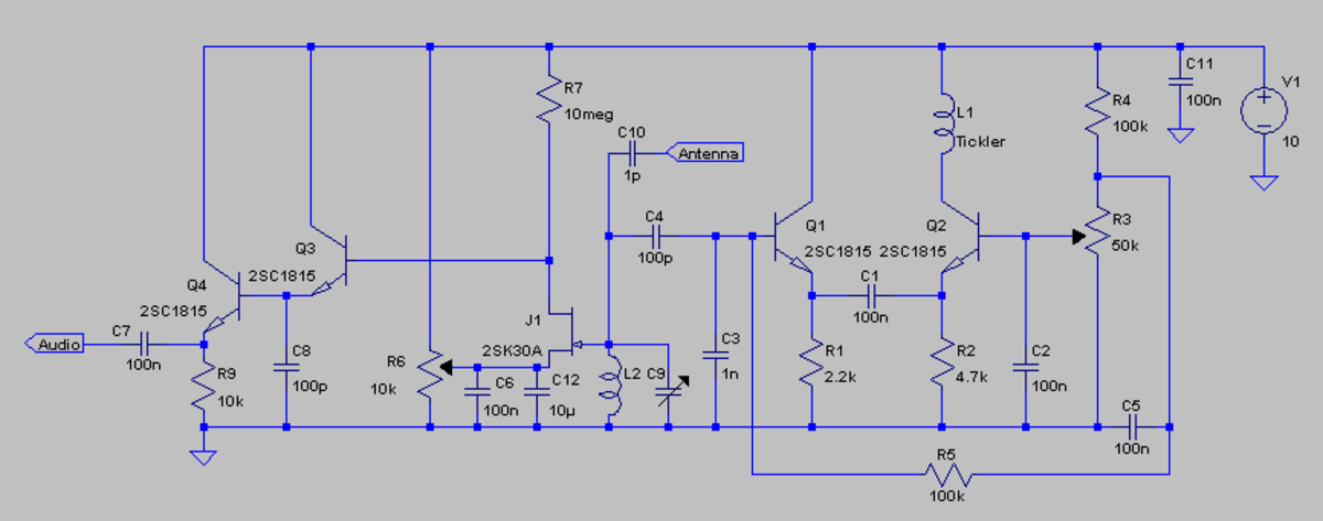 The Sens-o-dyne regenerative receiver.  This circuit has very good selectivity and frequency stability.