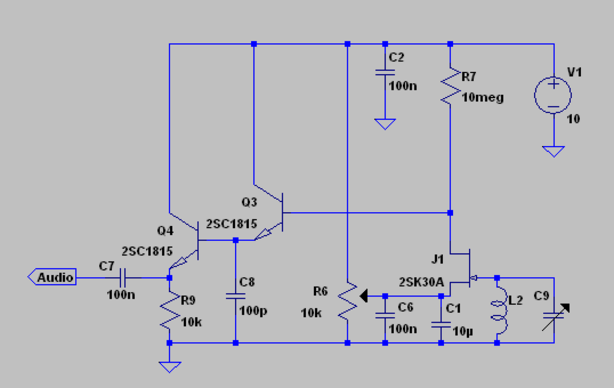Pinch off drain bend FET AM detector.  The FET is biased just to its pinch off voltage by adjusting the potentiometer R6.  It is important that the source is biased by a relatively low impedance circuit or the input impedance will be unstable.