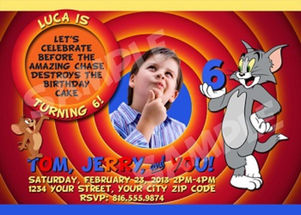 Personalized Tom and Jerry Party Invitations