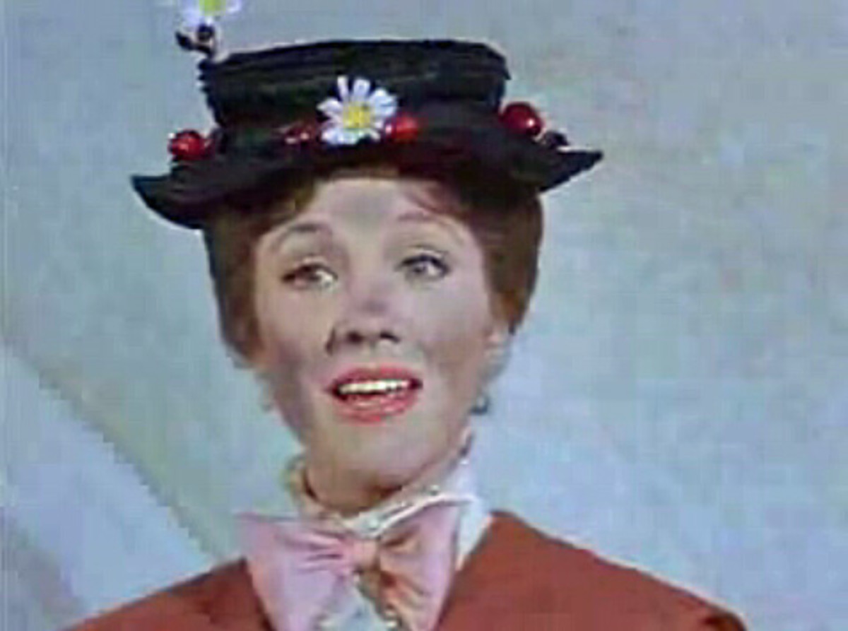 Julie Andrews as Mary Poppins, a little sooty after an outing with chimney sweep Bert. Not afraid to get dirty for a friend.