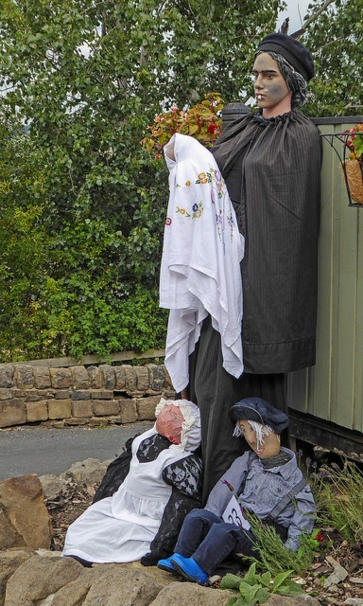 Nanny McPhee depicted at the Norland Scarecrow Festival 2018 in Scotland.