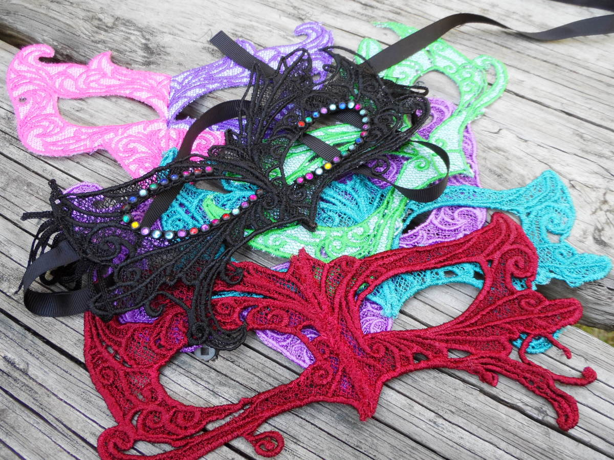 Lace masks are some of my most popular items to make using FSL methods. Designs are Urban Threads