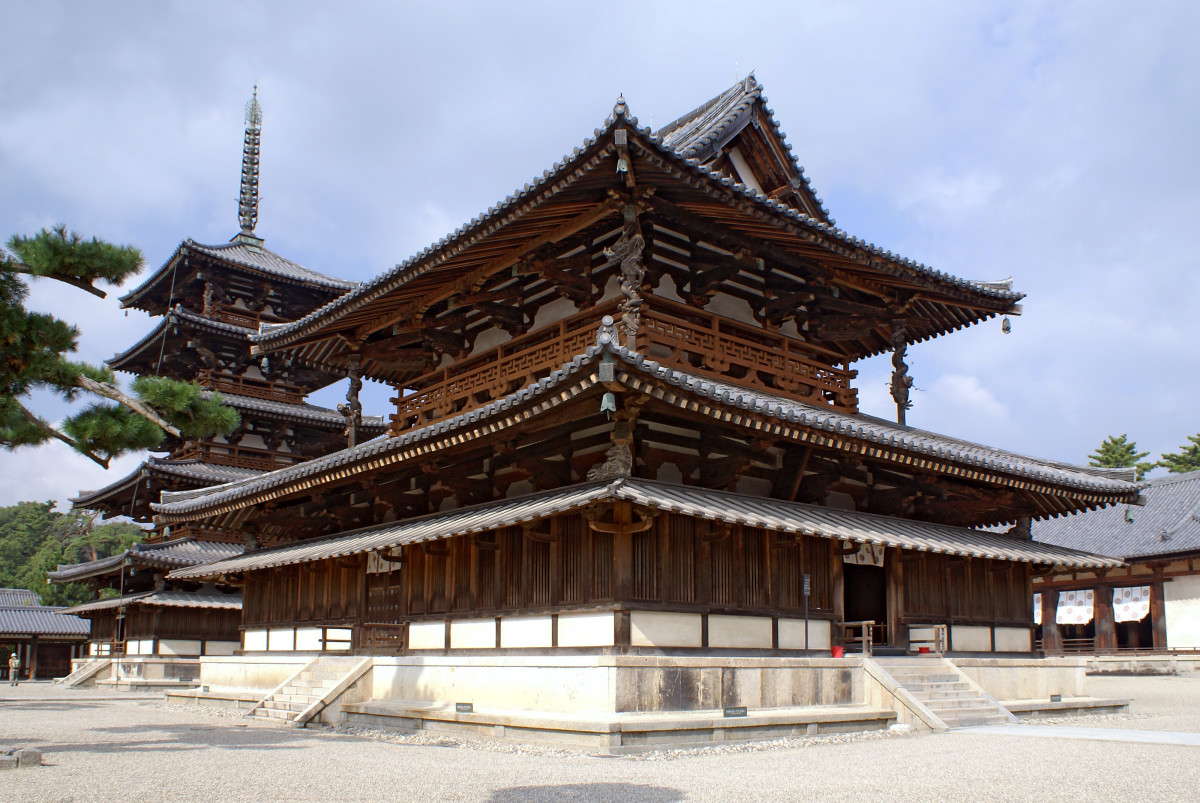 A Japanese pagoda, symbolic of Japanese history and culture.