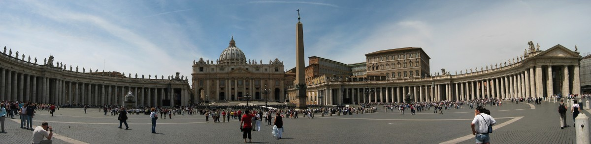 St.Peters Square in the Vatican City, a place where Latin is spoken by the Pope