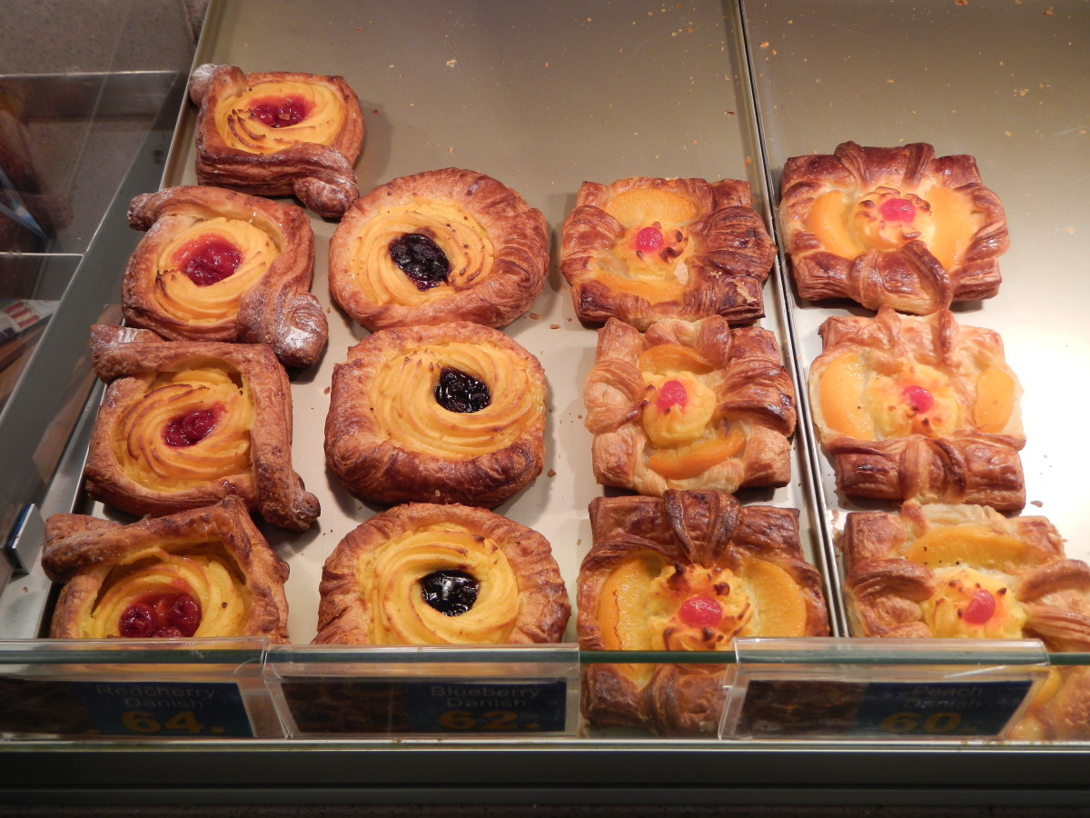 Delicious Danish pastries, a symbol of Denmark.