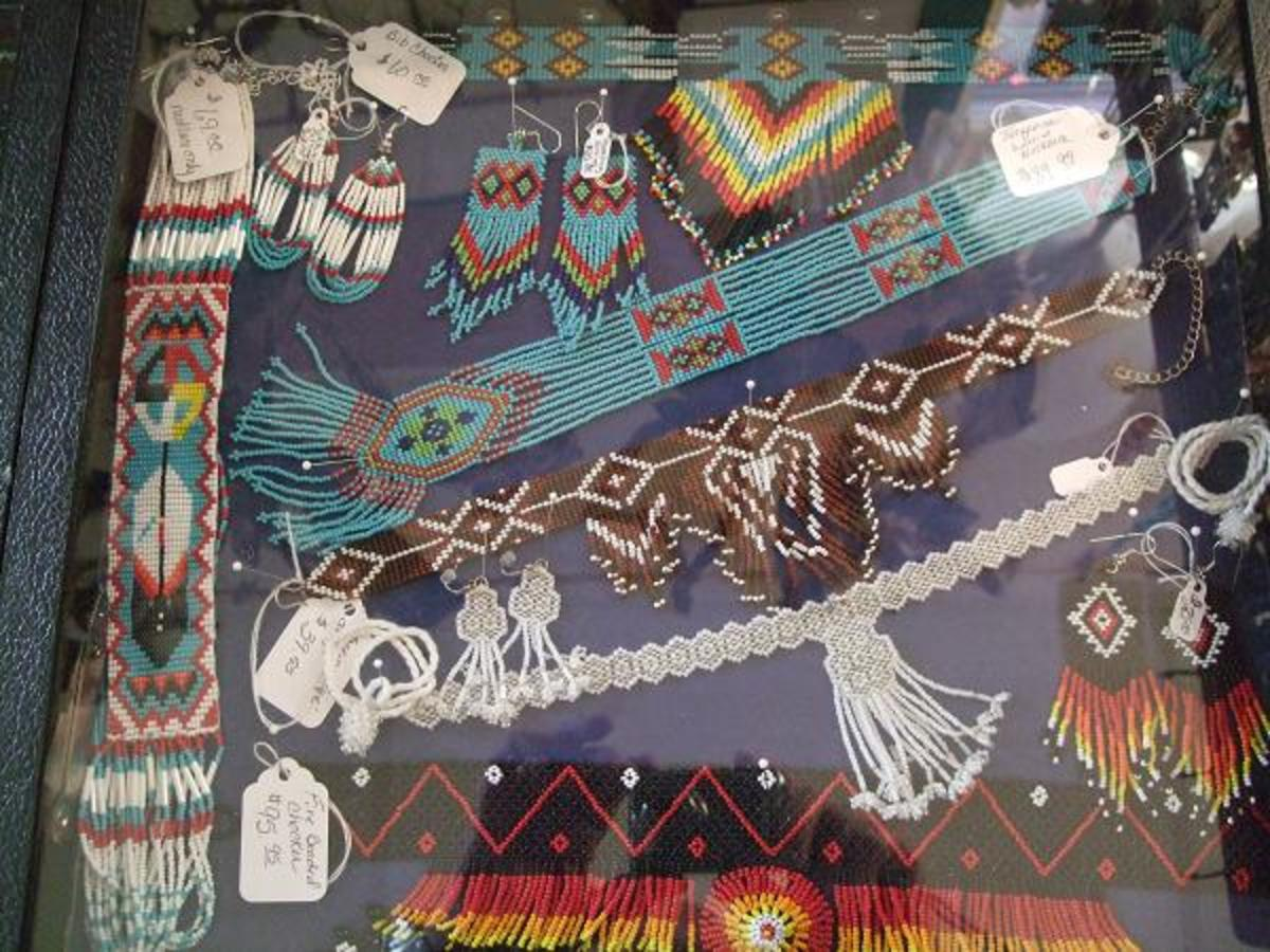 Loomed and beaded art strips, chokers and wonderful Regalia