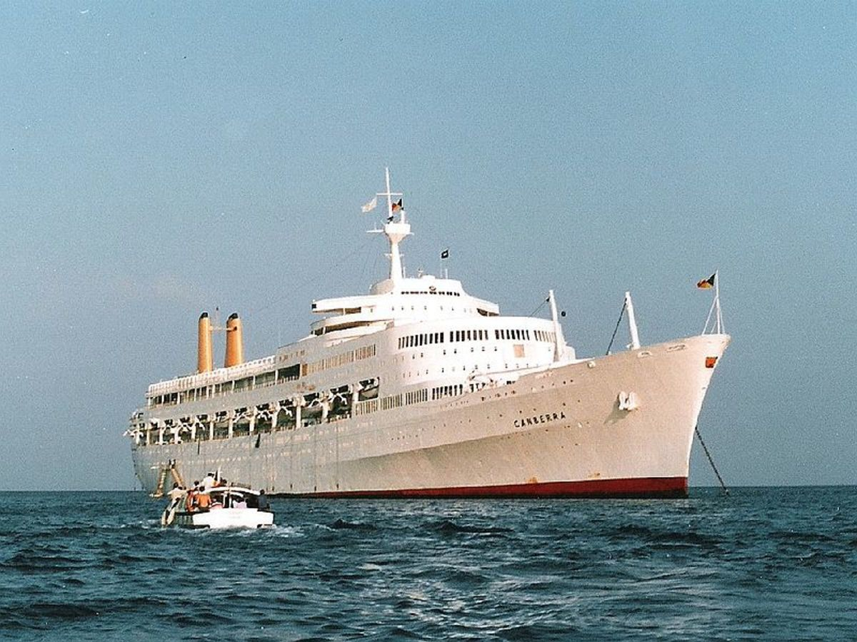 Flagship of the P&O Line. The mighty Canberra went on to serve as a troop carrier in the 1982 Falklands War.