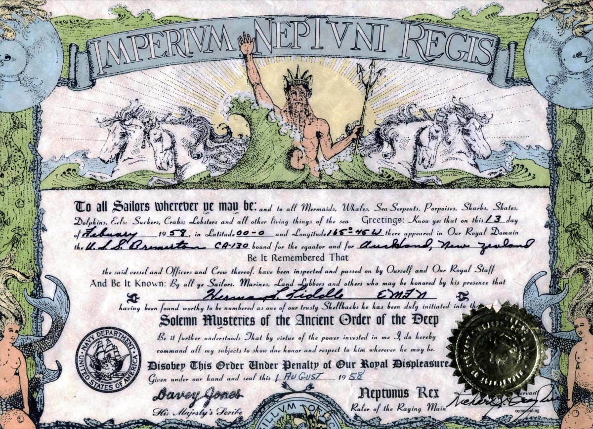 A certificate issued to an ex-Pollywog upon being initiated to Shellback status