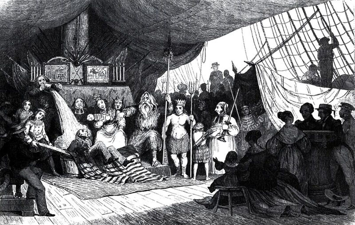 Crossing the Line ceremony on the Medusa near Senegal in 1816