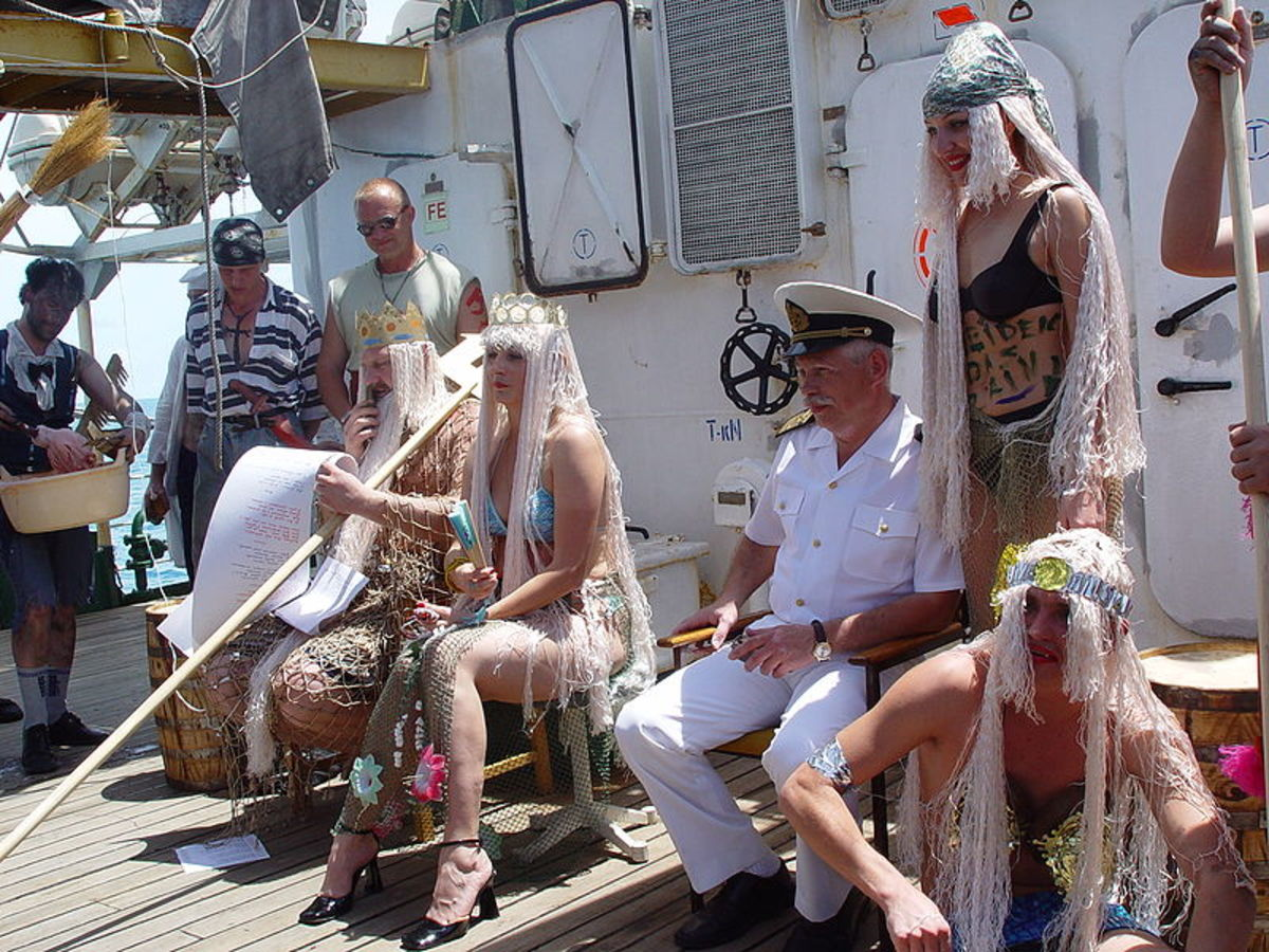 The Court of King Neptune aboard a modern liner