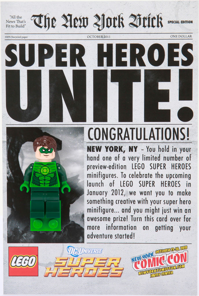 LEGO Green Lantern Newspaper Front New York Comic Con 2011